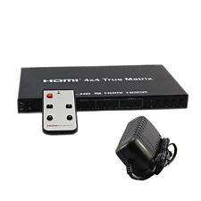 HDMI 4x4 HD 3D 1080P True Matrix Switch Switcher Adapter 4 In 4 Out +IR Remote