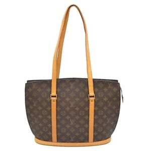 Authentic-Louis-Vuitton-Monogram-Shoulder-Hand-Bag-Tote-Babylone-Brown-Gold-LV
