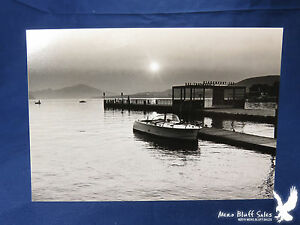 Details about Vintage Vacation Photo Inboard Boat Sea Lake Side Dock  Peaceful Mountains