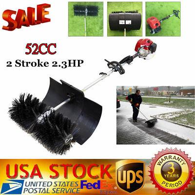 52cc 2 Stroke Gas Power Sweeper Hand Held Broom Cleaning Driveway Turf Grass Walk Behind Sweeper Cleaning Driveway Cleaner Tools 2.3HP 1700W Hand Held Broom
