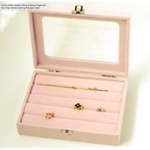 Velvet-Glass-Jewelry-Ring-Display-Organizer-Box-Tray-Holder-Earring-Storage-Case