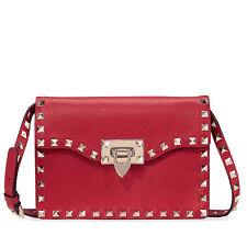 Valentino Rockstud Leather Shoulder Bag - Red
