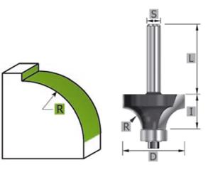 Viertelstabfräser mit Kugellager 2 schneidig HW- Anlaufring HM Schaft 8 mm
