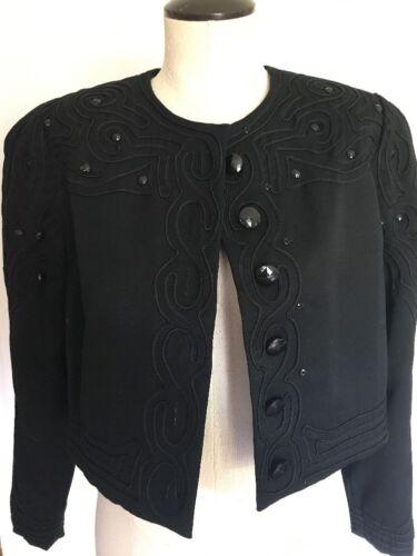 Vintage 1980s Marie St. Claire Cropped Black Embel