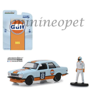 GREENLIGHT-51195-D-BISHOP-DATSUN-510-WIDE-BODY-8-1-64-GULF-RACING-with-FIGURE