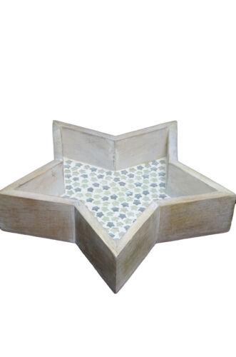 """Deko-Tablett-Set Stern /""""Esther/"""" Weihnachten 24 cm und 35 cm Holz Glas"""