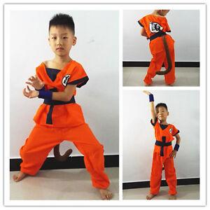 Image is loading Dragonball-Goku-Kids-Boys-Cosplay-Suit-Set-Costume-  sc 1 st  eBay & Dragonball Goku Kids Boys Cosplay Suit Set Costume Halloween Party ...