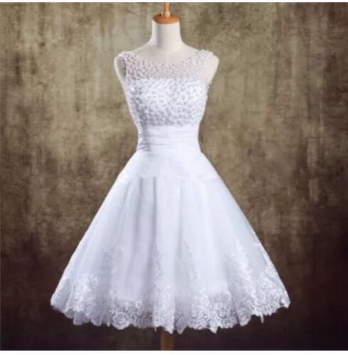 New WhiteIvory Pearls Wedding Dress Prom Ball Bridal Gown Size 616 UK