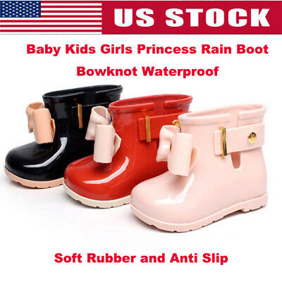 Baby Kids Bow Jelly Rainshoes Rain Boots Girls Princess Slip-On Rubber Shoes UK