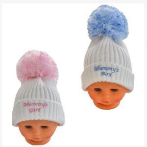 574dbc5072b66 Baby Boy Girl Knitted Pom Pom Hat White Pink Or White Blue Newborn-9 ...