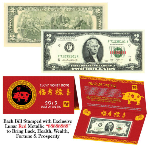2019 Chinese YEAR of the PIG Red Lunar Metallic Lucky 8 Genuine $2 Bill w//Folder