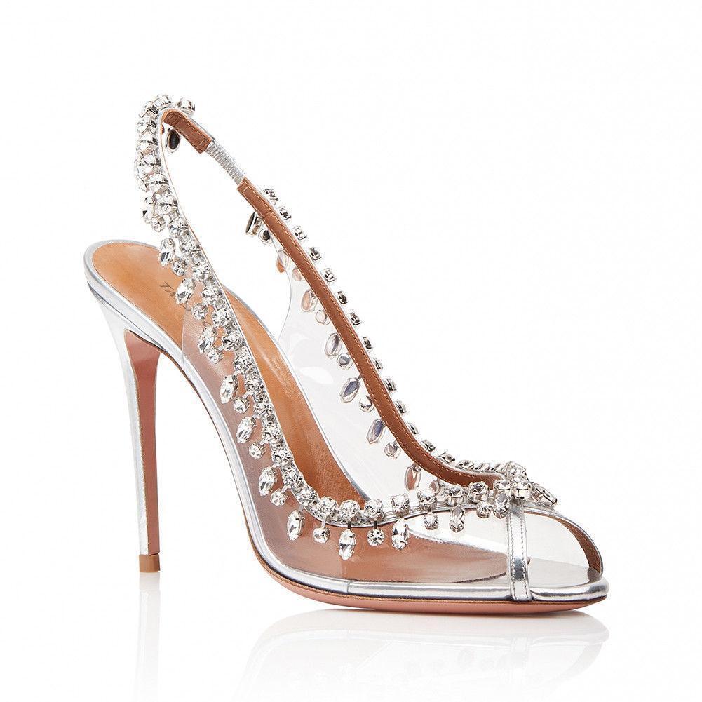 femmes Peep Toe High Heel Slingbacks Crystal argent Wedding chaussures Pumps New 2019