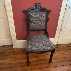 Antique-ornate-carved-parlor-chair-Blue-upholstery-floral-Eastlake