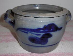1,5 Litre Pot Faience Steintopf-steinzeug-henkeltopf Gris Bleu éLéGant Et Gracieux