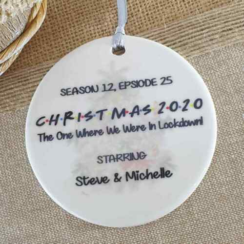 Personalised Friends Family Bauble With Gift Box Tree Decoration Gift Xmas