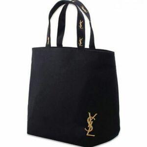 71b7219c135 Yves Saint Laurent YSL Shopping Canvas Tote Bag Black VIP Gift New ...