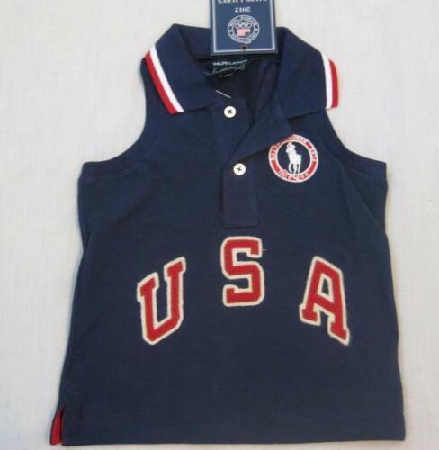 RALPH LAUREN girls navy blue sleeveless polo shirt tank top Team Olympics USA