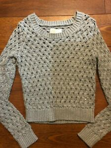 girls-JUSTICE-GRAY-SILVER-size-14-SWEATER-knit-top-crop-WINTER-shirt-DRESSY-nice