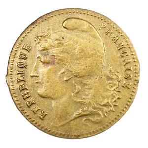 Jeton-en-Laiton-Marianne-Coq-d-039-apres-pieces-de-20-francs-or-Token-France