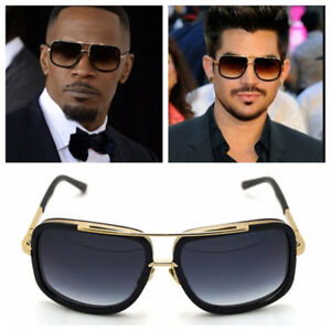 Mach-Oversized-Square-Aviator-Gold-Metal-Bar-Men-Designer-Fashion-Sunglasses