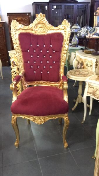 100% Vero Trono Poltrona Reale In Legno Barocco Foglia Oro Con Tessuto Rosso E Cristalli Prestazioni Affidabili
