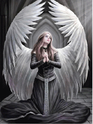 3D PICTURE 300mm x 400mm ANNE STOKES ANGEL PRAYER FOR THE FALLEN