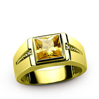 Yellow CITRINE Gemstone and DIAMOND Accents in Mens Ring REAL 14K SOLID GOLD