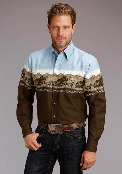Roper Mens Adult XLARGE Summer Run Horse Boarder Western Performance Shirt
