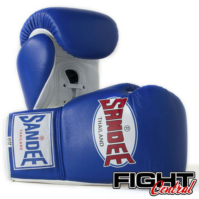 Sandee Pro Lace Up Boxing Gloves - Blau - Thai, FREE P&P - Muay Thai, - MMA, Boxing d5bdf4