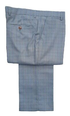 Mens Marc Darcy Formal Soft Formal Check Trousers George Royal Blue