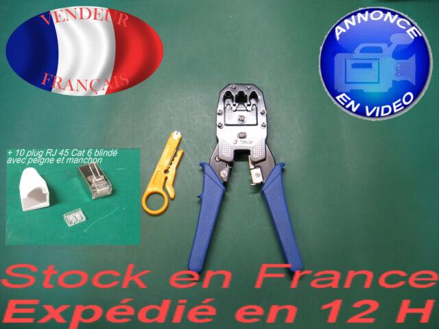 Pince à sertir RJ 45 RJ 11 RJ 12 +  10 Plugs RJ 45 OFFERTS