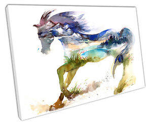 SPRING-HORSE-CANVAS-WALL-ART-PICTURE-LARGE-75-X-50-CM