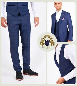 a4461ee94c74 Mens Marc Darcy Check Tweed 3/2 Piece Blazer Waistcoat Trousers Slim ...