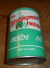 VINTAGE THE WORKINGMAN'S FRIEND MOTOR OIL ONE QUART COMPOSITE CAN/FULL/RARE!