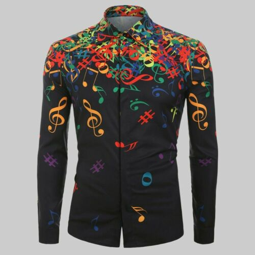 Fashion Men Casual Novelty Musical Note Casual Long Sleeves Shirt Tops Blouse