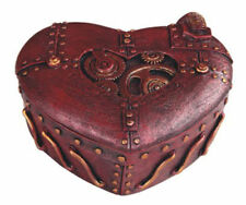 New Metallic Coper Color  Heart Shaped Steampunk Gears Trinket Box Jewelry Box
