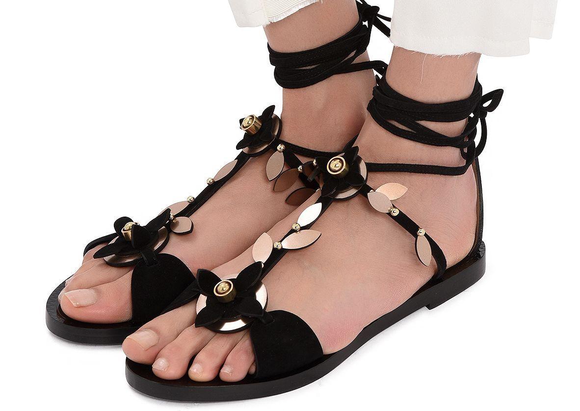 Authentic 1.7K ALAIA flower-embellished flat suede sandals EU 39 US 8 NIB