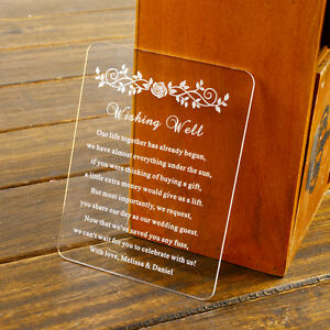 Personalized Roses Acrylic Wedding Invitation cards/Wishing well/Rsvp cards