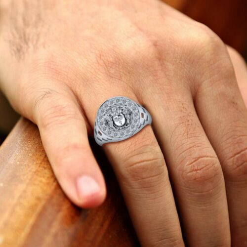 Details about  /14k Yellow Gold Finish 1.02 Ct Round Diamond Pave Engagement Medusa Face Ring