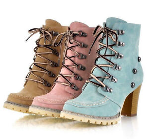Rivets-Lace-Up-Platform-Chunky-High-Heel-Suede-Casual-Women-039-s-Ankle-Boots-Zhou8