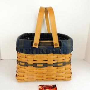 LONGABERGER-1998-Green-Pantry-Basket-Double-Handle-16420-Signed-Liner-Inv-12