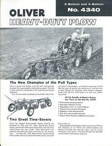 Oliver Tractor 4340 Plow Dealer/'s Brochure DADS