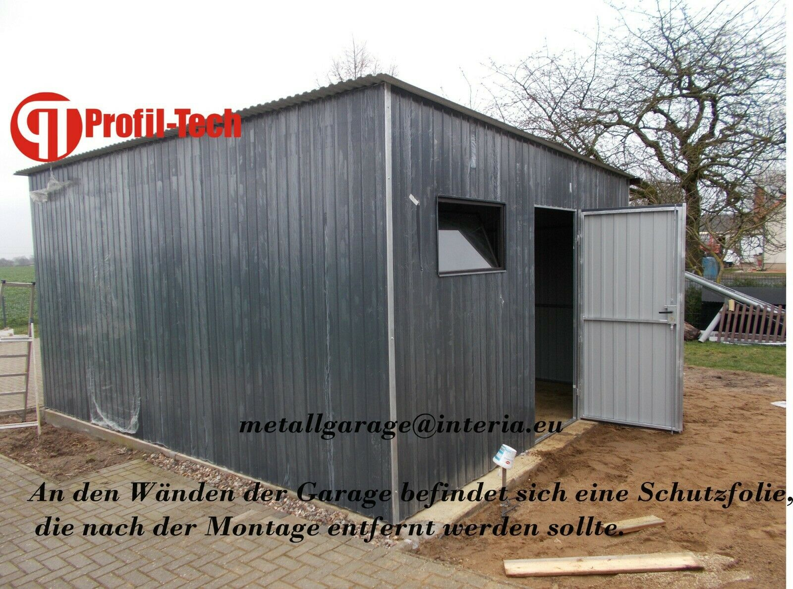 3,5x4,5 Blechgarage GARAGE Metallgarage Gartenhäuser Geräteschuppen Fertiggarage