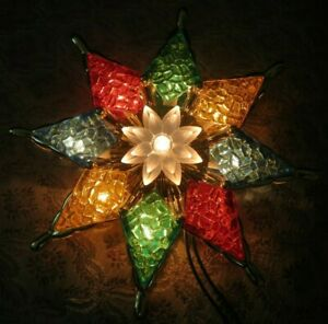Vintage Faux Stained Glass Star Christmas Tree Topper