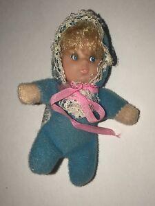Vintage-MATTEL-1978-BABY-BEDTIME-BEANS-Shoe-Bean-Mini-DOLL-3-034-Blue