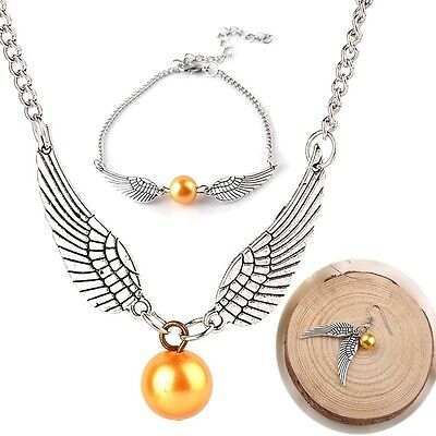 Harry Potter The Deathly Hallows Golden Snitch Style Angel Wings Jewellery Hot