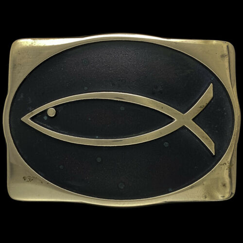 Gold and White Toned Religious Ichthys Jesus Fish Oval Trinket Jewelry Box