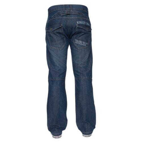 "KRUZE Mens Straight Leg Jeans Regular Fit Denim Trousers Pants All Waist 28– 50"""