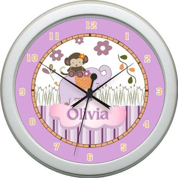 Personalized Girl Jacana Nursery Decor' Wall Clock Cute Gift