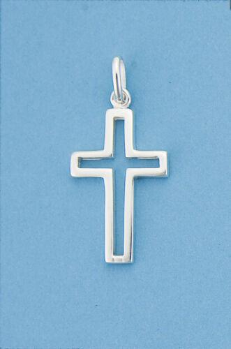 Genuino 925 plata esterlina recorte Liso Pulido Cruz Colgante Hombre//Mujer